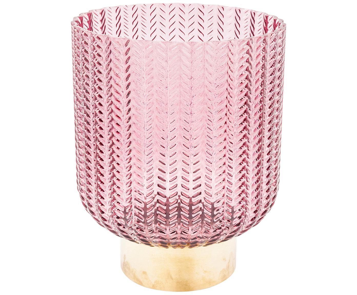 Wazon ze szkła z mosiężną podstawą Barfly, Różowy, transparentny, Ø 17 x W 20 cm