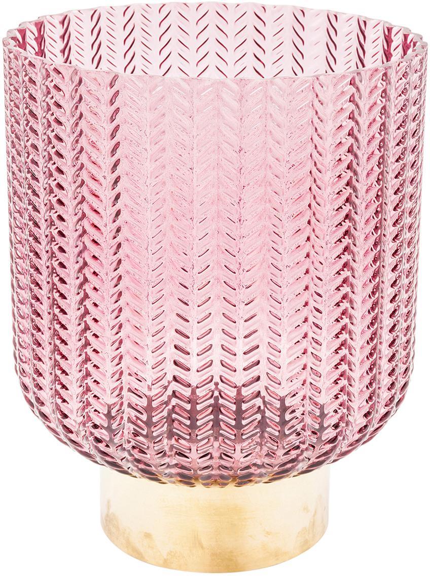 Glas-Vase Barfly mit Messingsockel, Vase: Glas gefärbt, Sockel: Messing, gebürstet, Rosa, transparent, Ø 17 x H 20 cm