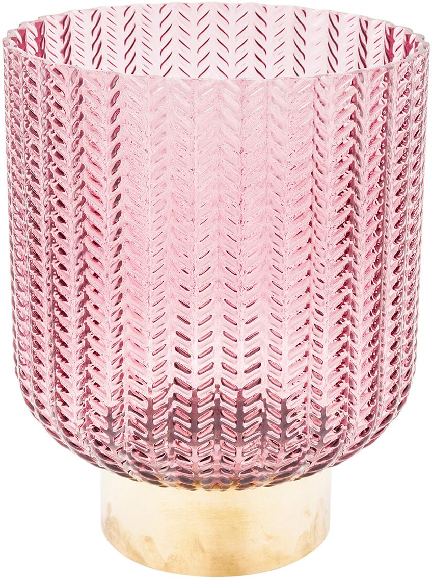 Vaso con base in ottone Barfly, Vaso: vetro tinto, Rosa trasparente, Ø 17 x Alt. 20 cm