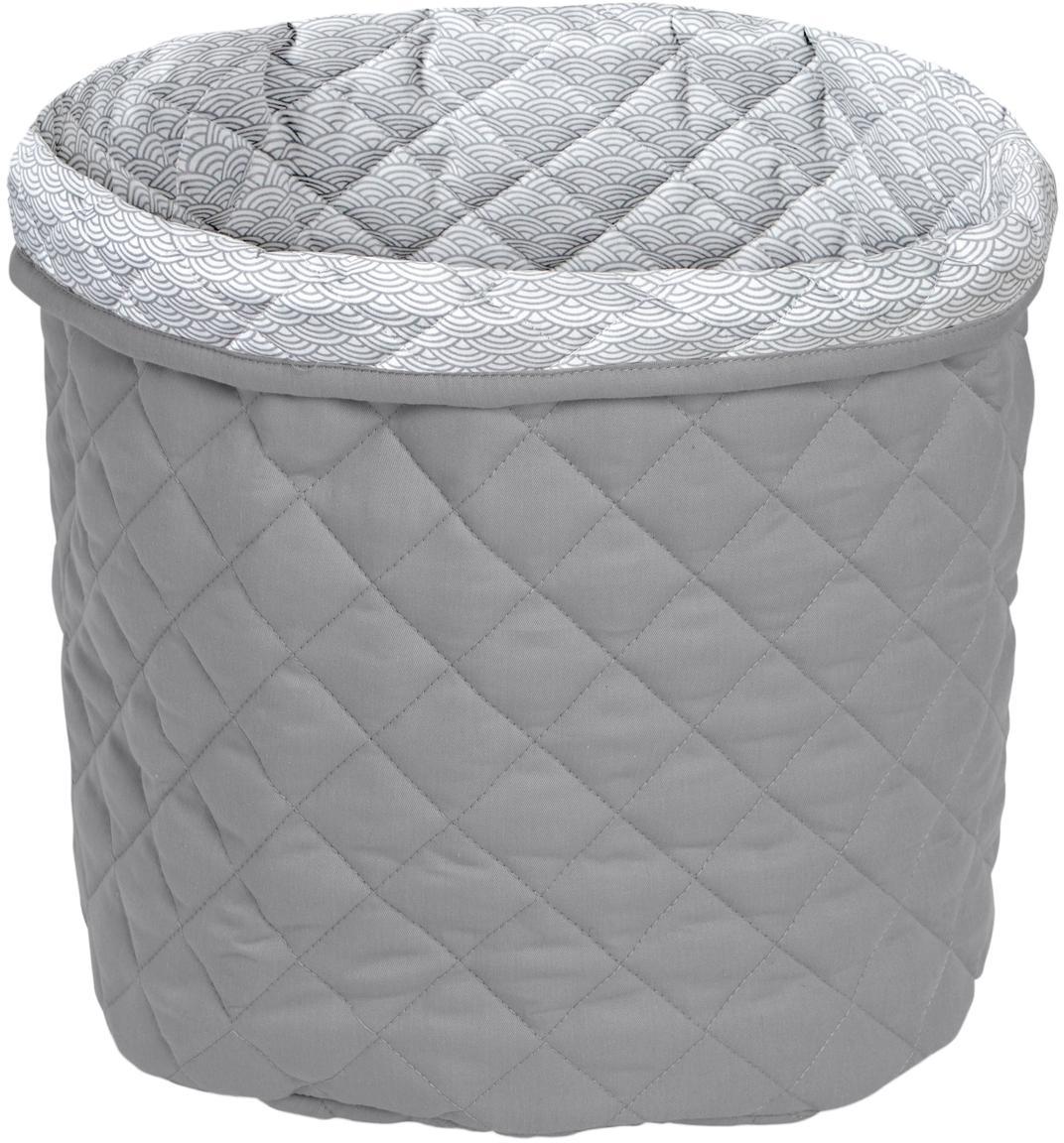 Aufbewahrungskorb Wave aus Bio-Baumwolle, Bezug: Bio-Baumwolle, Grau, Ø 30 x H 33 cm