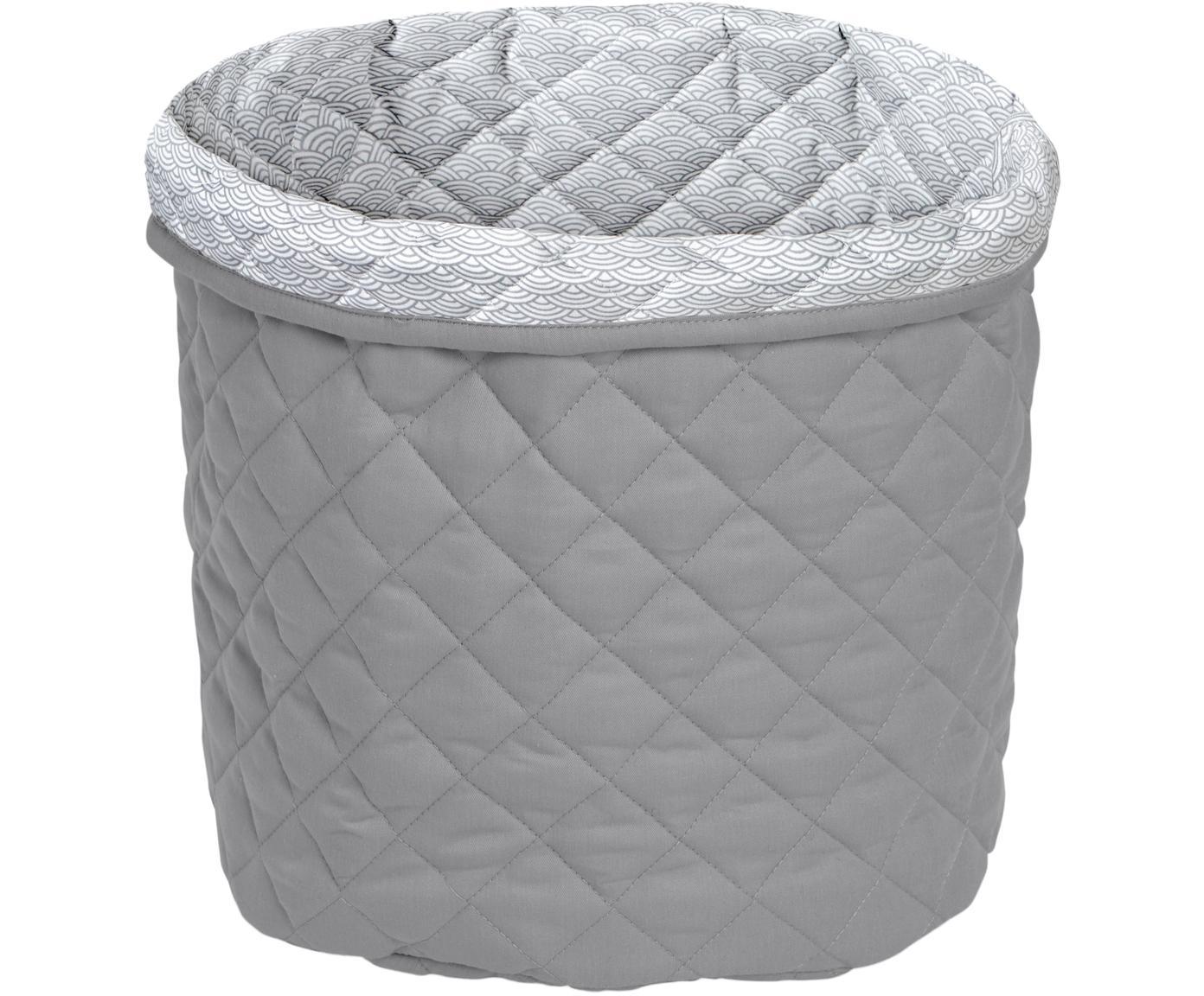 Cesta Wave, Exterior: algodón orgánico, Gris, Ø 30 x Al 33 cm