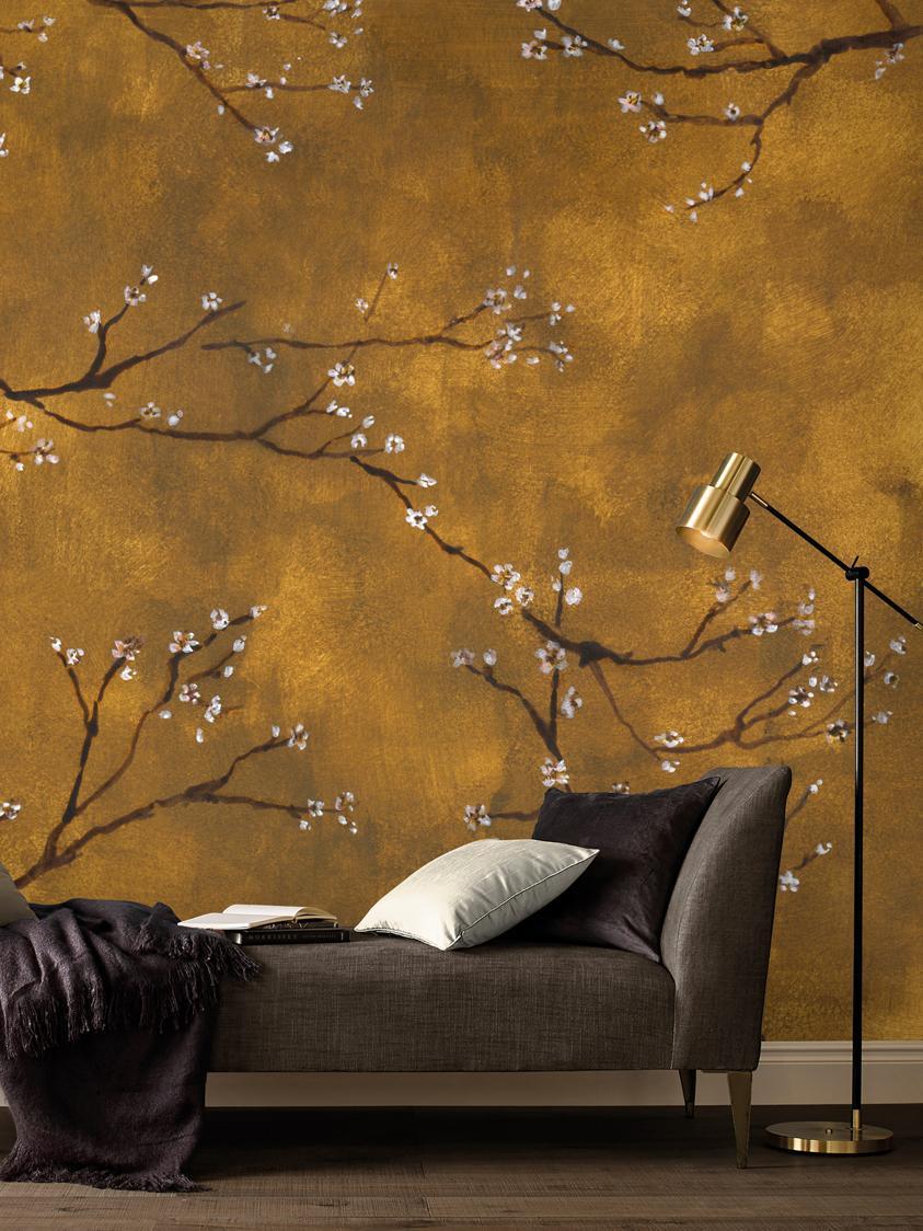 Fotomural Chinese Spring, Tejido no tejido, Tonos amarillo y marrones, blanco, negro, An 300 x Al 280 cm