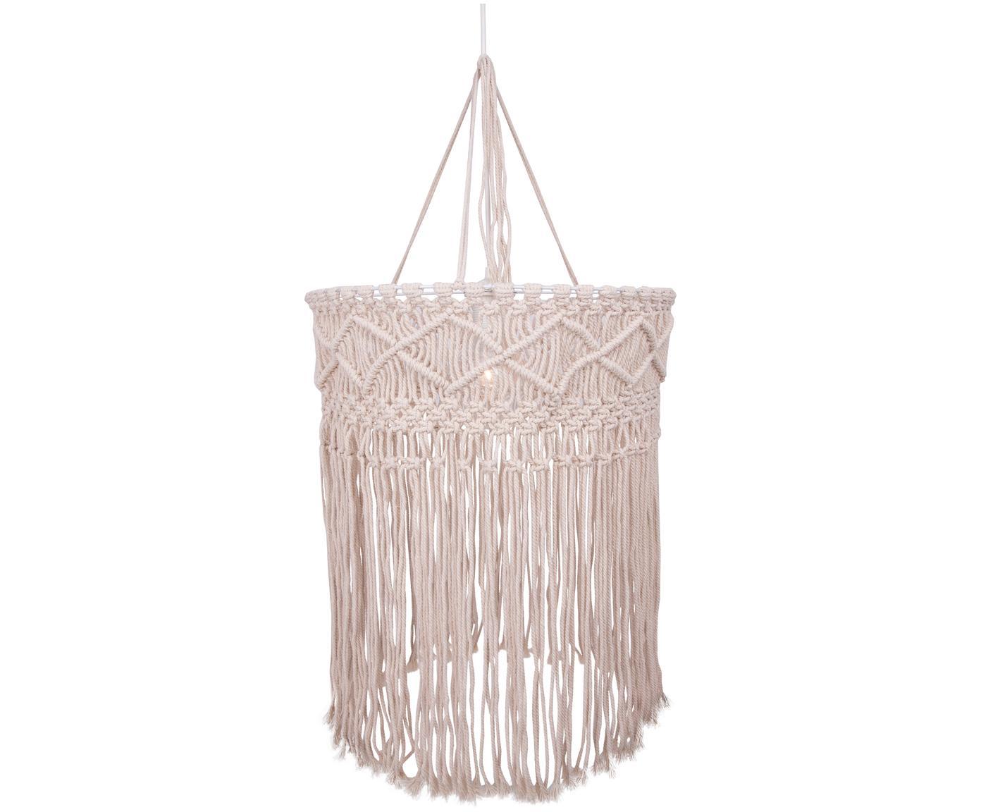 Design hanglamp Havanna van katoen, Lampenkap: katoen, Wit, beige, Ø 40 x H 50 cm
