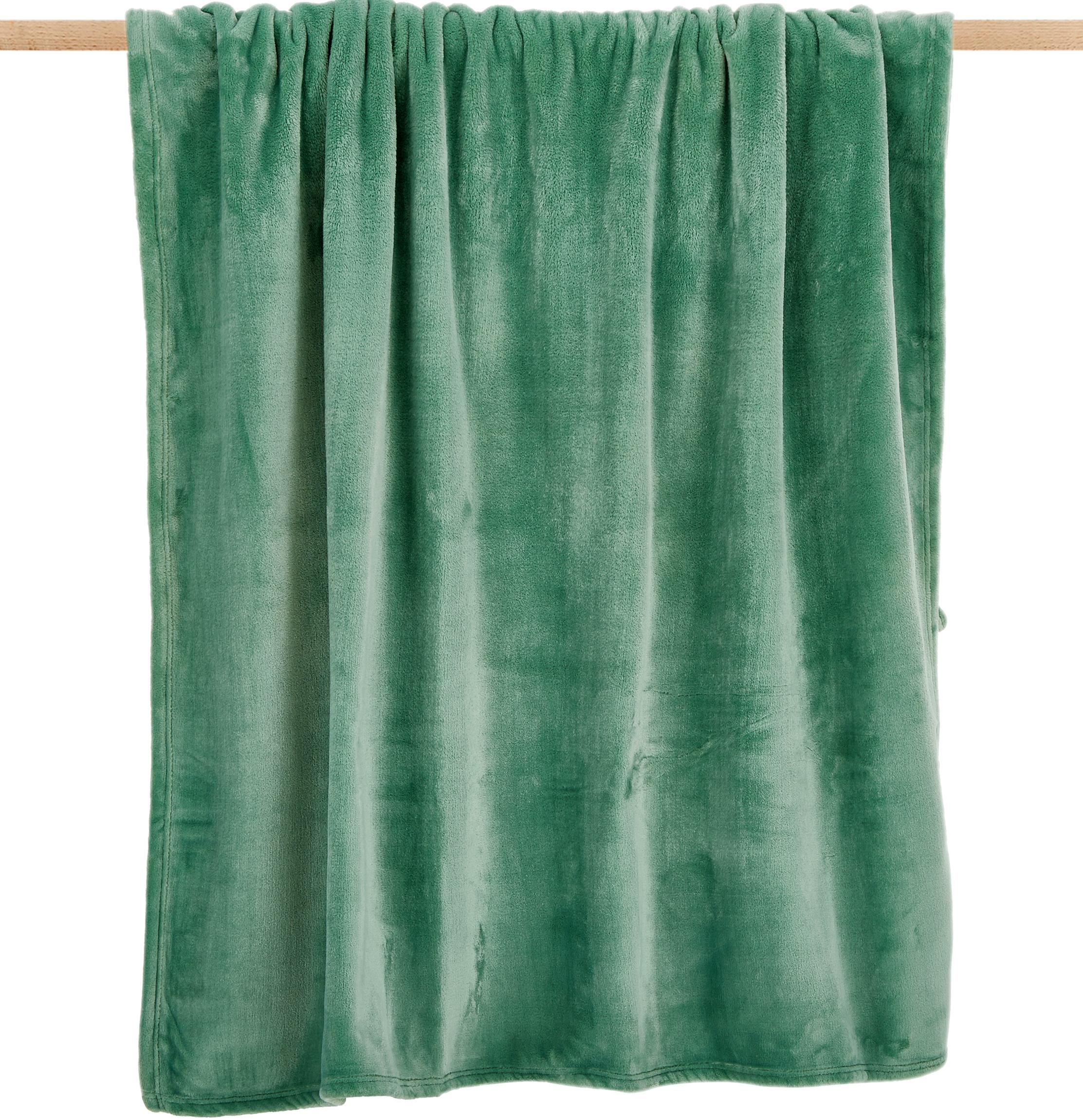 Weiches Fleece-Plaid Doudou in Mint, 100% Polyester, Mint, 130 x 160 cm
