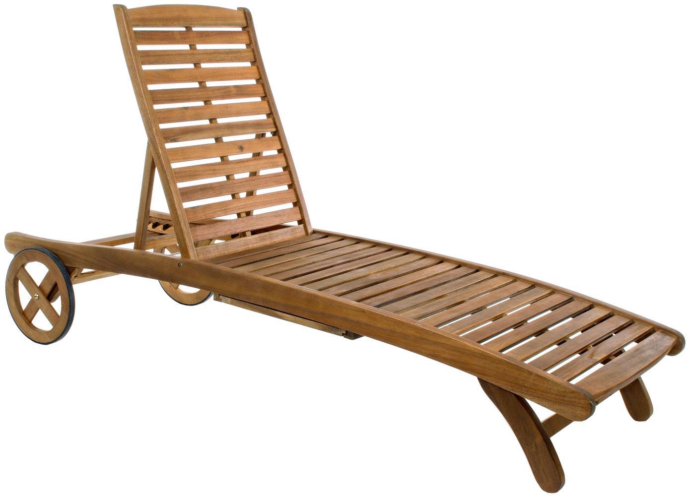 Leżak ogrodowy Noemi, Lite drewno akacjowe, olejowane, Drewno akacjowe, D 195 x S 58 cm