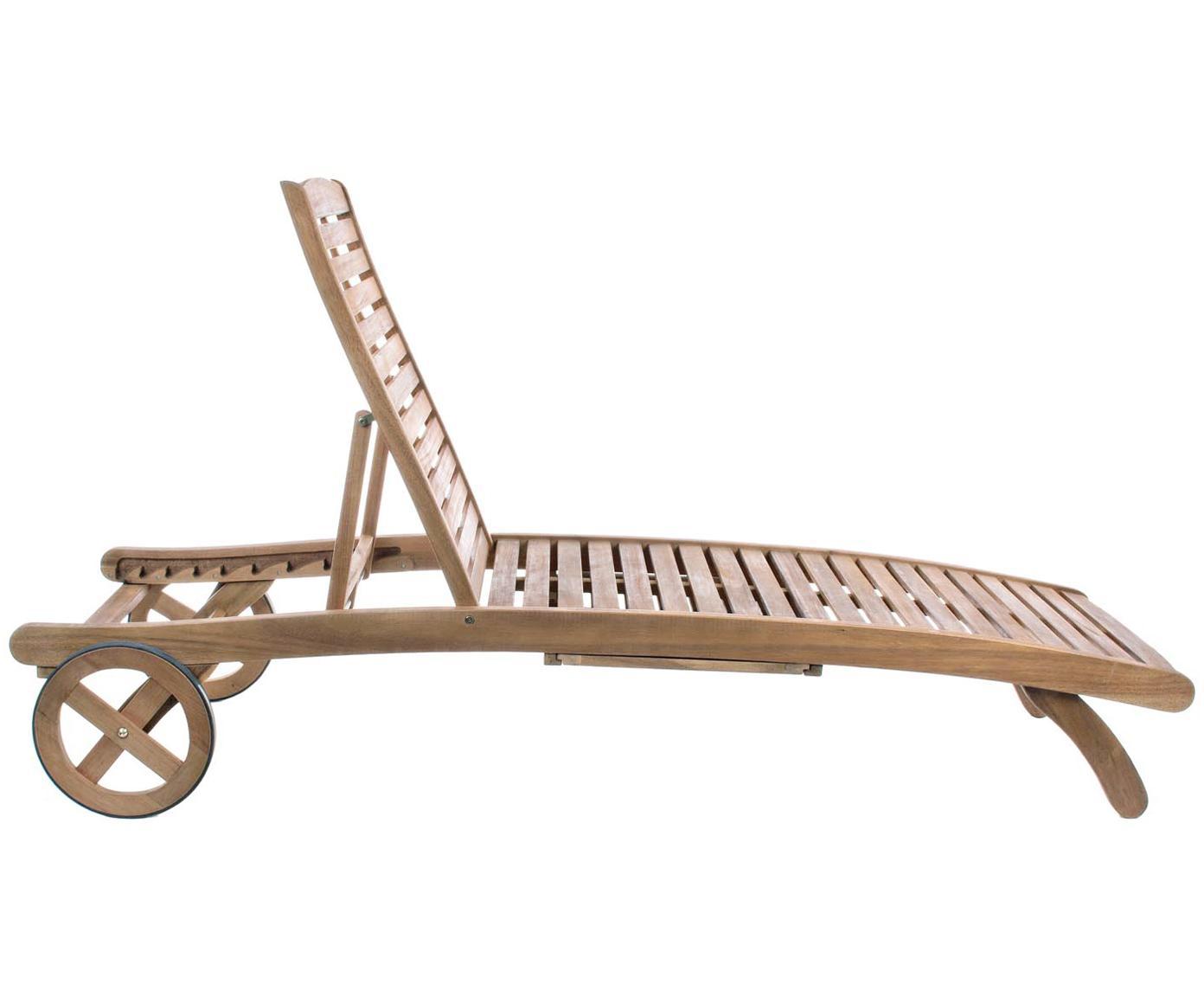 Gartenliege Noemi, Massives Akazienholz, geölt, Akazie, 58 x 195 cm