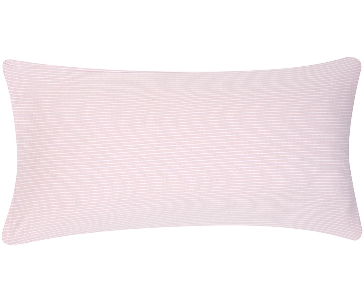 Flanell-Kissenbezüge Rae, fein gestreift, 2 Stück, Webart: Flanell Flanell ist ein s, Rosa, Weiß, 40 x 80 cm