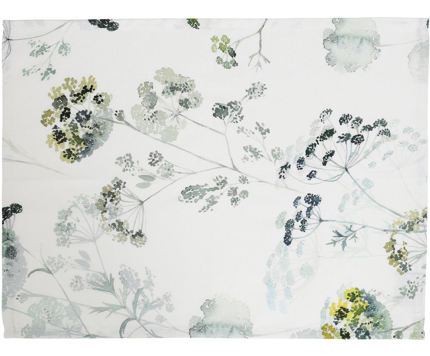Tischsets Herbier mit Aquarell Print, 2 Stück, Baumwolle, Weiß, Grün, 38 x 50 cm