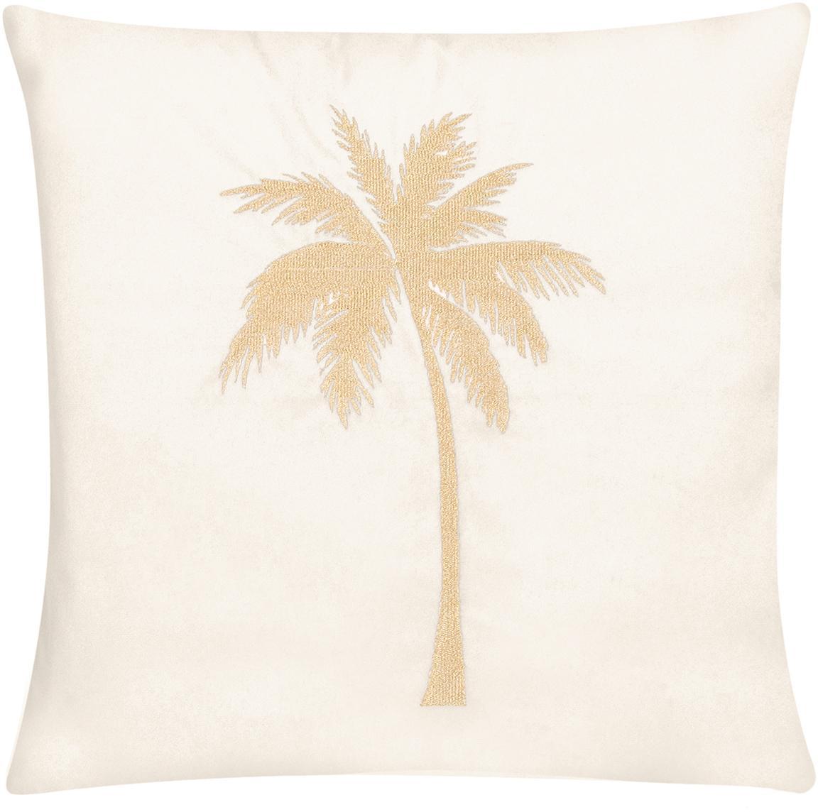 Poszewka na poduszkę z aksamitu Palmsprings, 100% aksamit poliestrowy, Kremowobiały, odcienie złotego, S 40 x D 40 cm