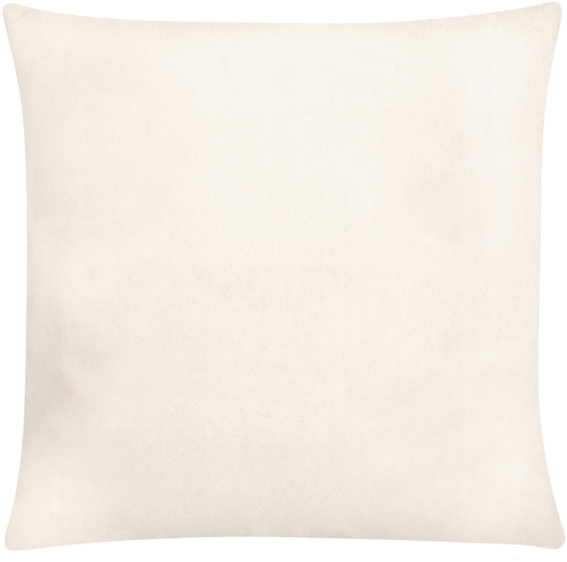 Funda de cojín bordada de terciopelo brillante Palmsprings, 100%terciopelo de poliéster, Blanco crema, dorado, An 40 x L 40 cm