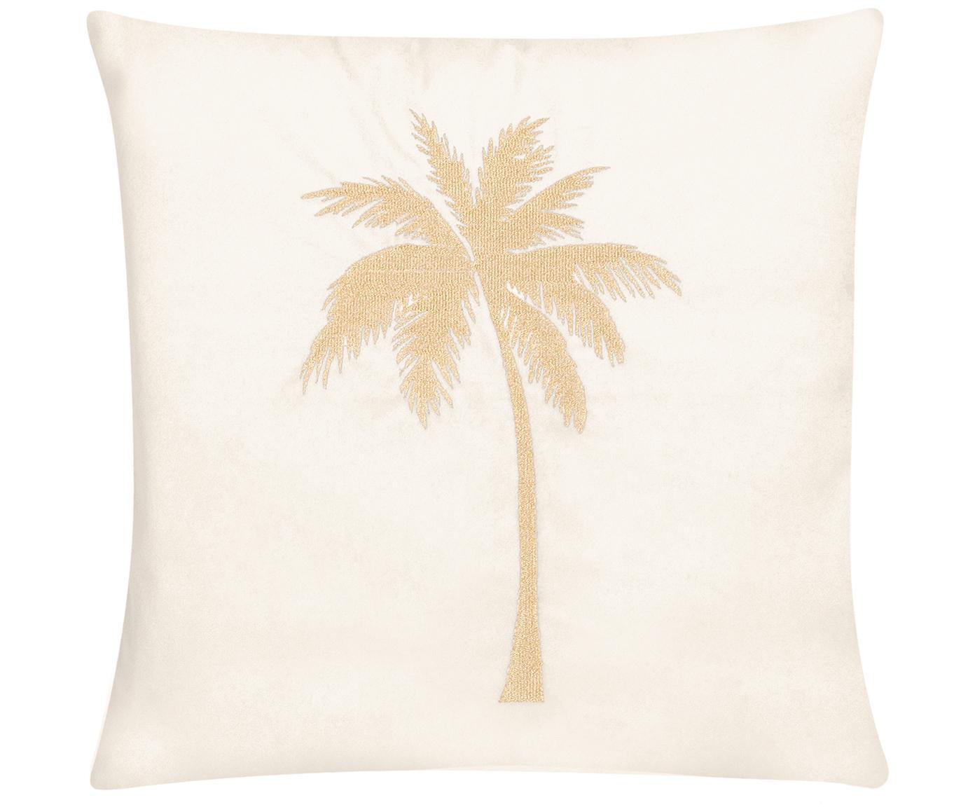 Funda de cojín bordada de terciopelo brillante Palmsprings, Terciopelo de poliéster, Blanco crema, dorado, An 40 x L 40 cm