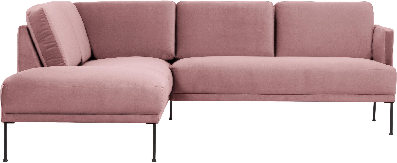 Fluwelen hoekbank Fluente, Bekleding: fluweel (hoogwaardig poly, Frame: massief grenenhout, Poten: gepoedercoat metaal, Roze, B 221 x D 200 cm