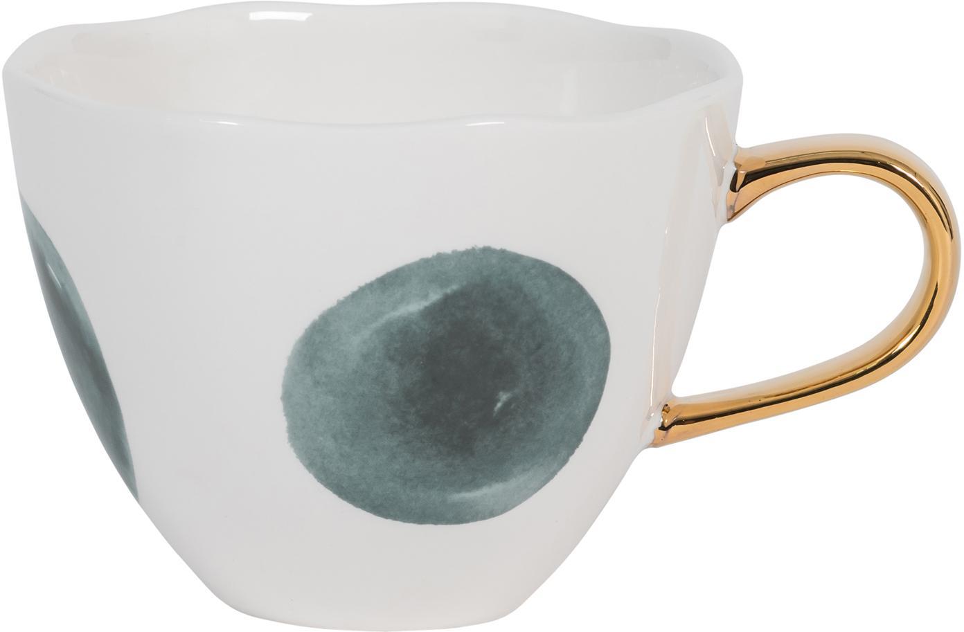 Gepunktete Tasse Good Morning mit goldenem Griff, Steingut, Weiß, Blau, Ø 11 x H 8 cm
