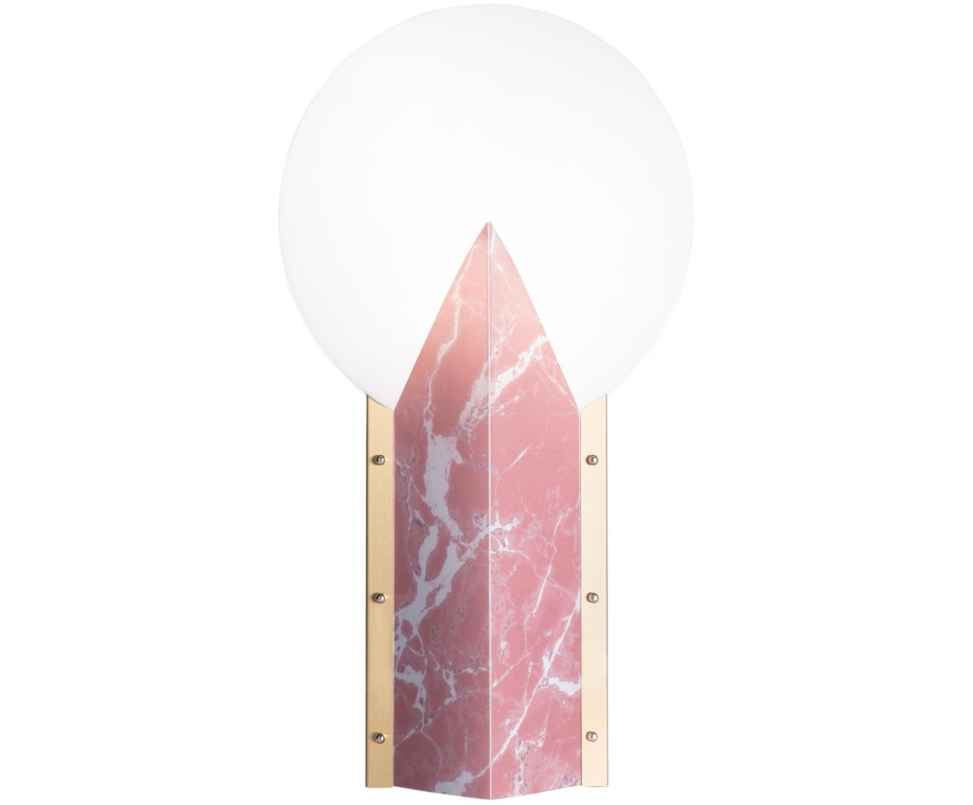 Lampada da tavolo di design Moon, Paralume: Tecnopolimero Opalflex®, , Base della lampada: alluminio rivestito, Bianco, rosa, Larg. 30 x Alt. 57 cm