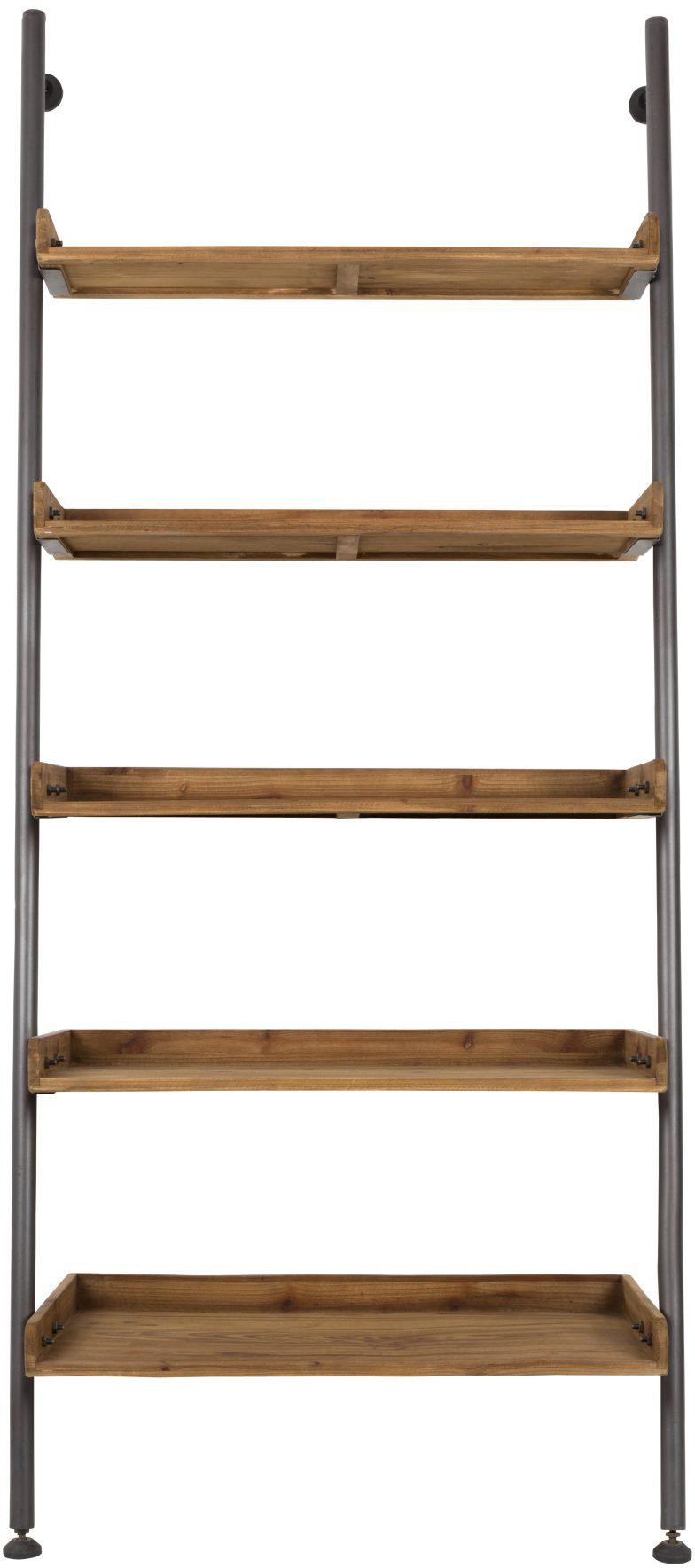Libreria a scala in design vintage Wally, Mensole: legno di abete naturale, , Struttura: metallo verniciato a polv, Marrone, Larg. 86 x Alt. 200 cm