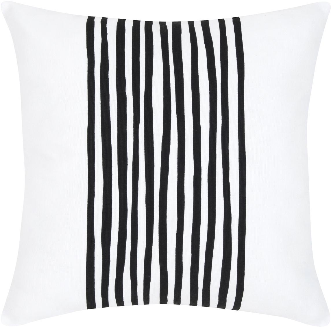 Kussenhoes Corey met strepen in zwart/wit, Katoen, Zwart, wit, 40 x 40 cm