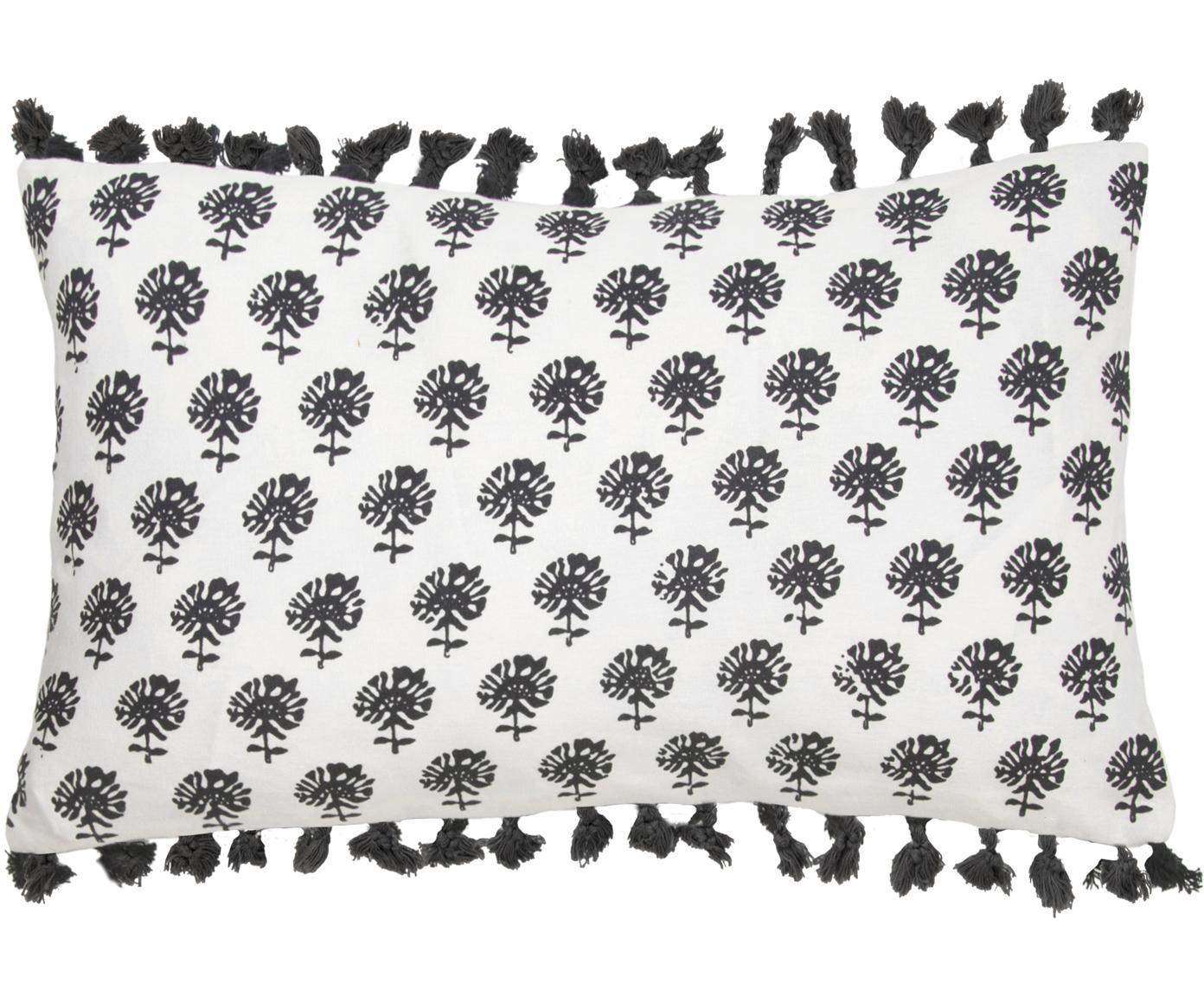 Kussenhoes Poesy met kwastjes, Katoen, Wit, zwart, 30 x 50 cm