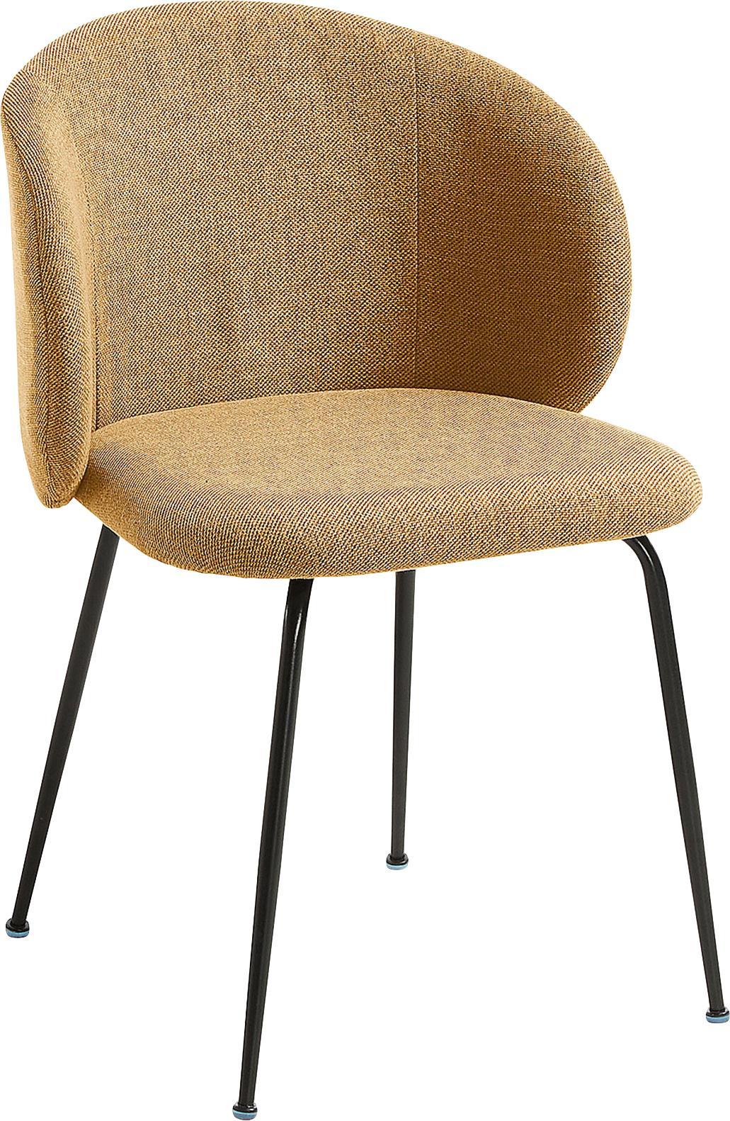 Gestoffeerde stoelen Minna, 2 stuks, Zitvlak: textiel, Frame: gelakt metaal, Mosterdgeel, zwart, 57 x 56 cm