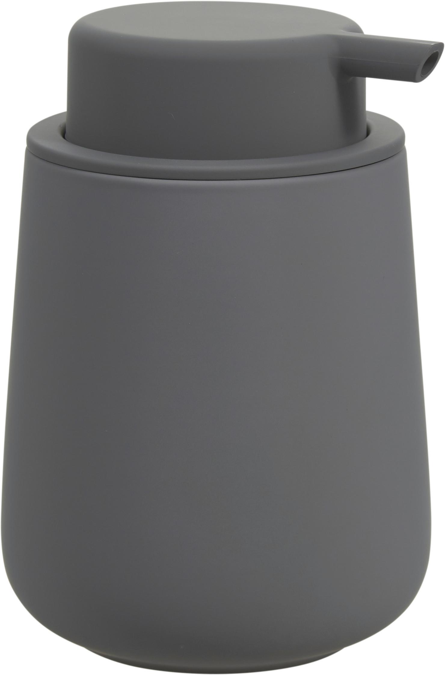 Dozownik do mydła z porcelany Nova One, Szary, matowy, Ø 8 x 12 cm