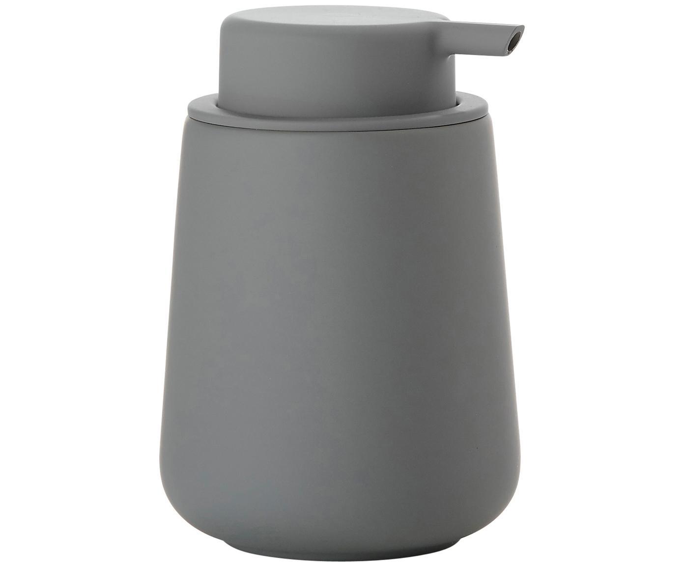 Dosificador de jabón Push, Recipiente: porcelana, Dosificador: plástico, Gris, Ø 8 x Al 12 cm