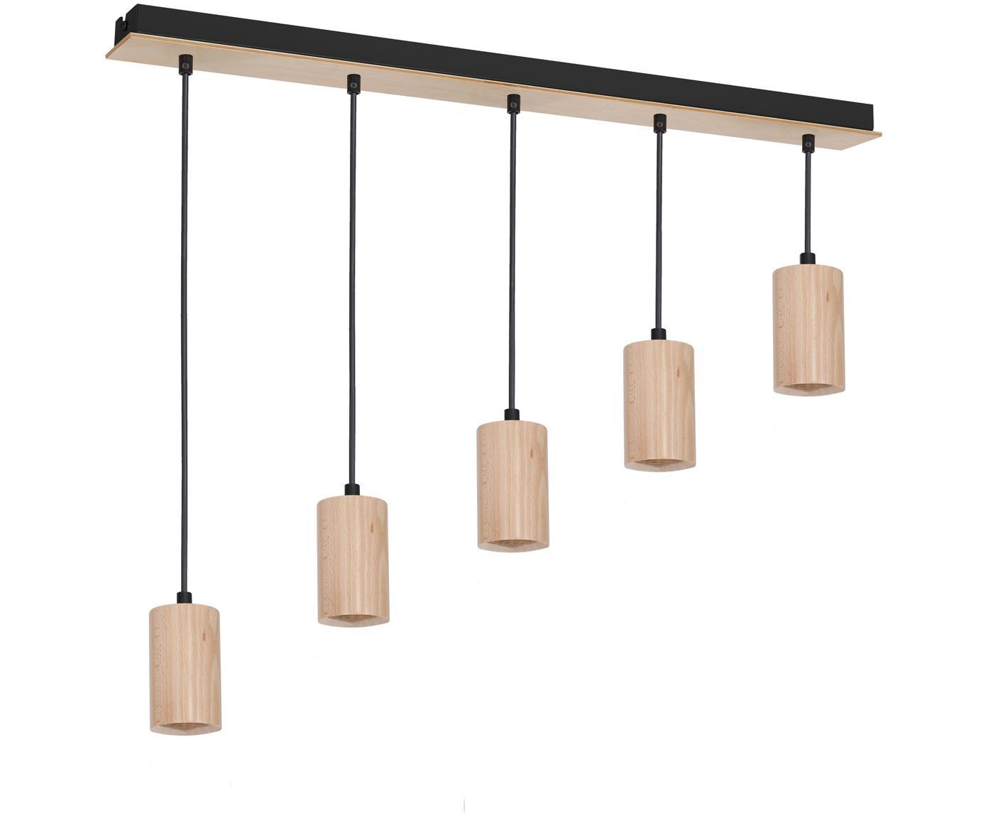 Pendelleuchte Lines aus Holz, Holz, Schwarz, 90 x 11 cm