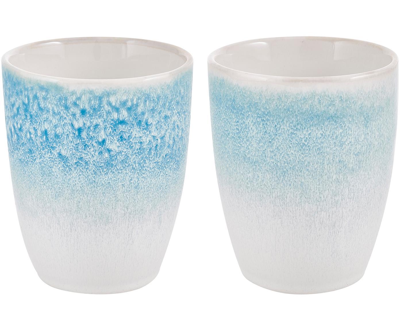 Handgemachte Becher Amalia mit effektvoller Glasur, 2 Stück, Porzellan, Hellblau, Cremeweiss, Ø 10 x H 11 cm