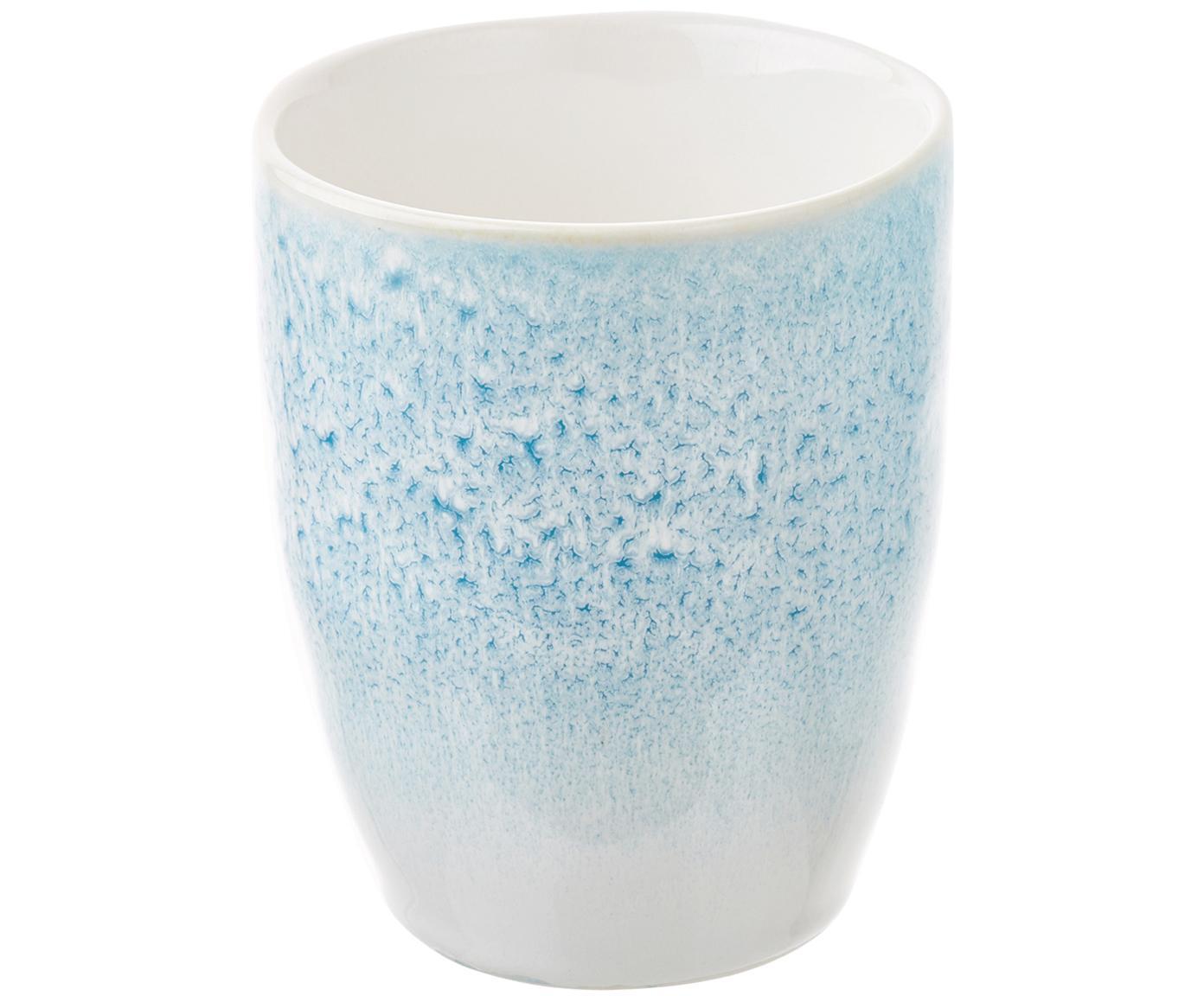 Handgemachte Becher Amalia mit effektvoller Glasur, 2 Stück, Porzellan, Hellblau, Cremeweiß, Ø 10 x H 11 cm