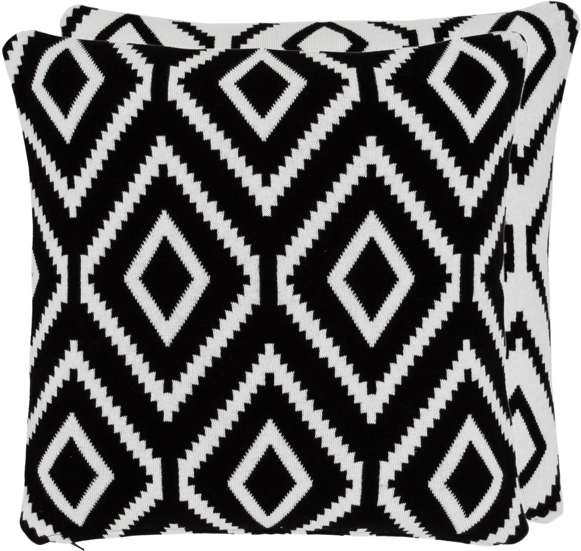Strick-Wendekissenhülle Chuck mit grafischem Muster in Schwarz/Weiss, 100% Baumwolle, Schwarz, Cremeweiss, 40 x 40 cm