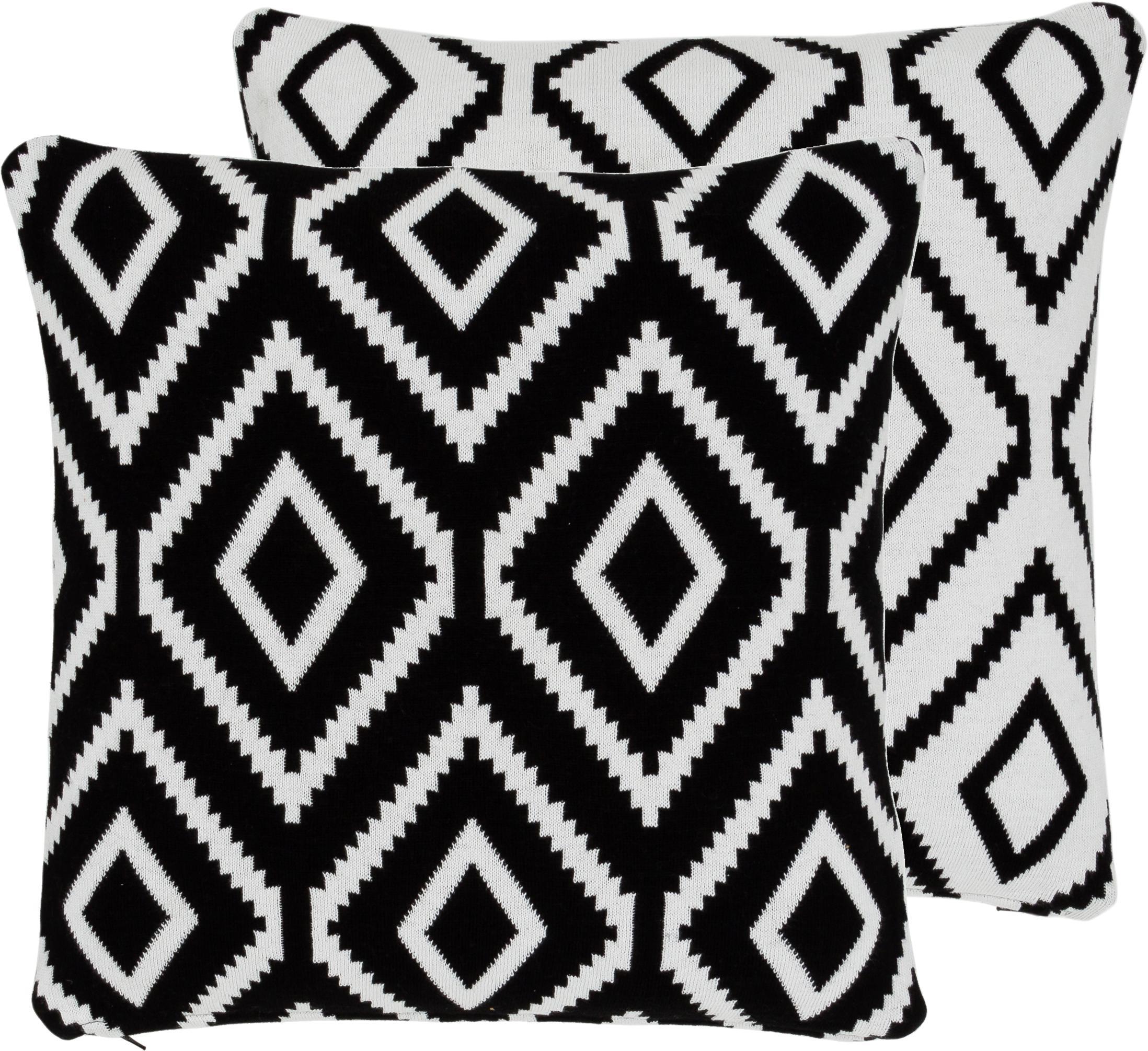 Funda de cojín de punto Chuck, caras distintas, 100%algodón, Negro, blanco crema, An 40 x L 40 cm