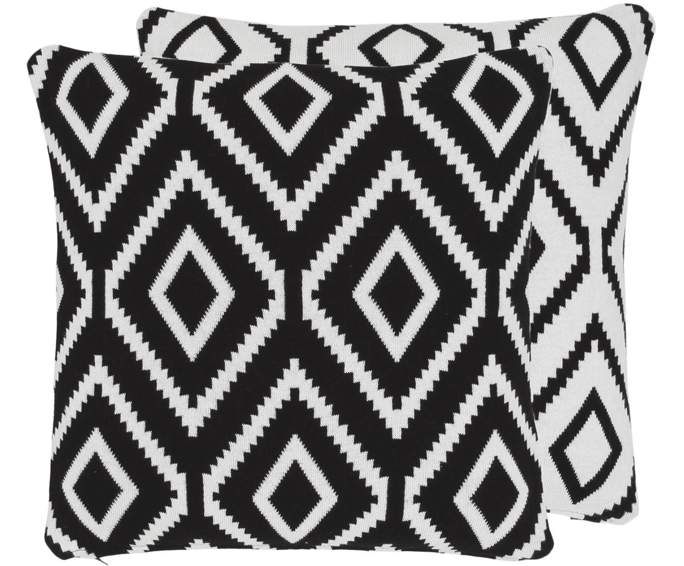 Gebreide dubbelzijdige kussenhoes Chuck, 100% katoen, Zwart, crèmewit, 40 x 40 cm