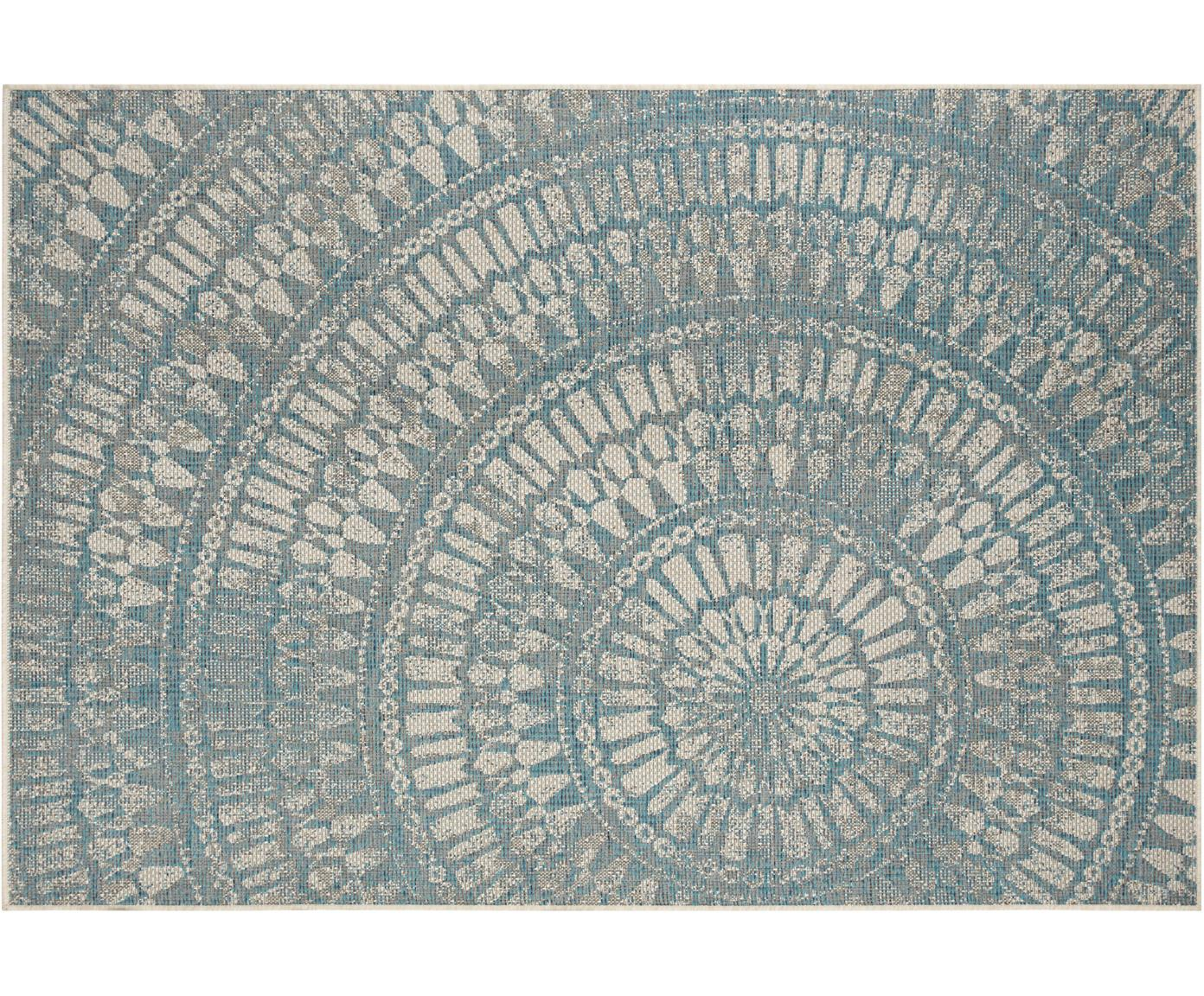 In- & outdoor vloerkleed Arnon met patroon, Polypropyleen, Turquoise, beige, B 140 x L 200 cm (maat S)