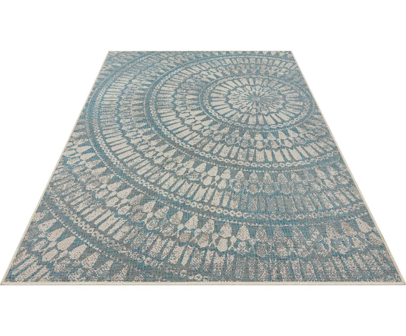 Gemusterter In- & Outdoor-Teppich Arnon, 100% Polypropylen, Türkis, Beige, B 200 x L 290 cm (Größe L)