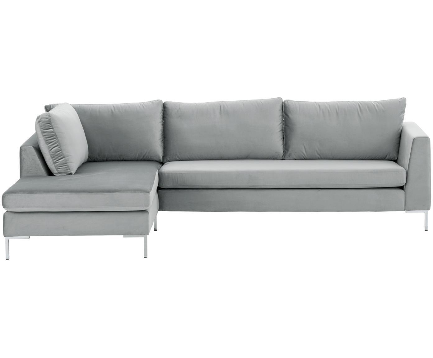 Fluwelen hoekbank Luna, Bekleding: fluweel (polyester), Frame: massief beukenhout, Poten: gegalvaniseerd metaal, Fluweel beigegrijs, zilverkleurig, B 280 x D 184 cm