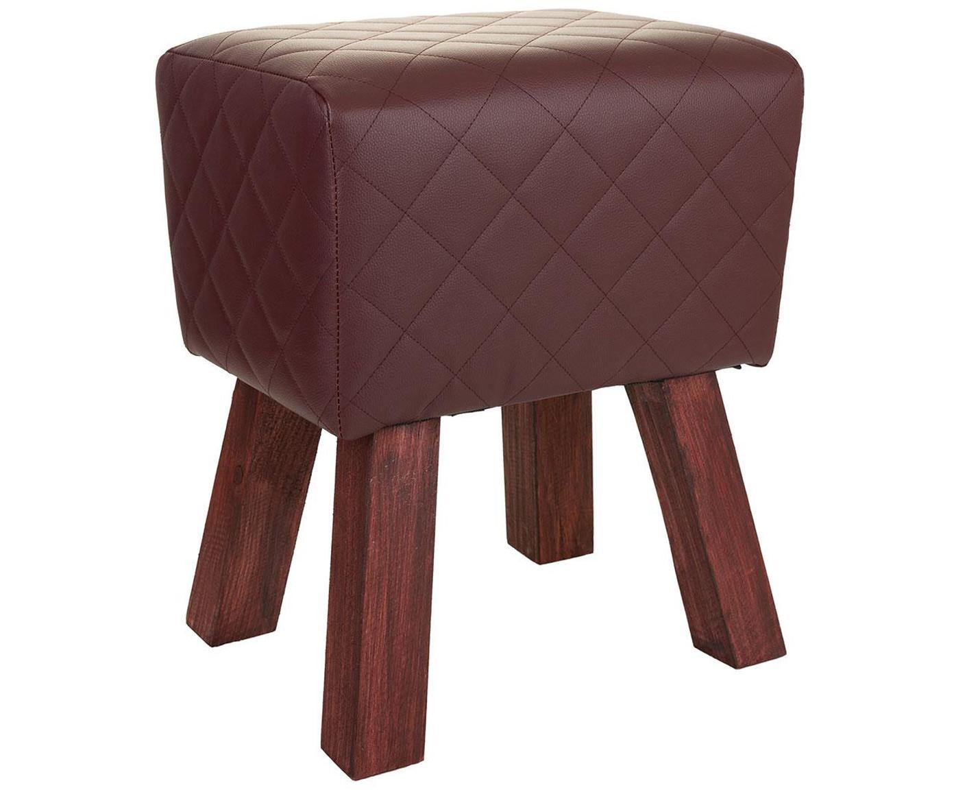 Taburete tapizado Leire, Patas: madera, Tapizado: cuero sintético, Marrón, An 36 x Al 47 cm