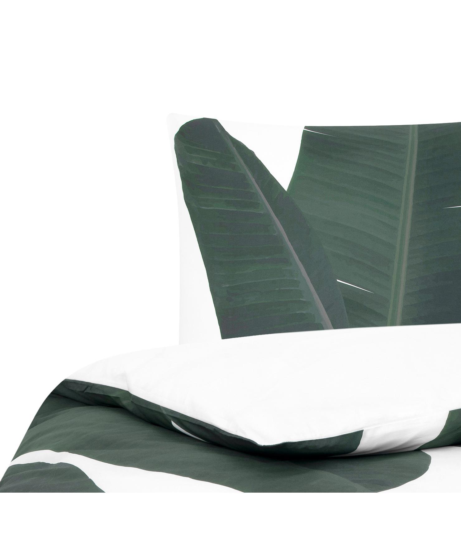 Baumwollperkal-Bettwäsche Banana mit Blattmotiv, Webart: Perkal Fadendichte 180 TC, Vorderseite: GrüntöneRückseite: Weiß, Uni, 135 x 200 cm + 1 Kissen 80 x 80 cm