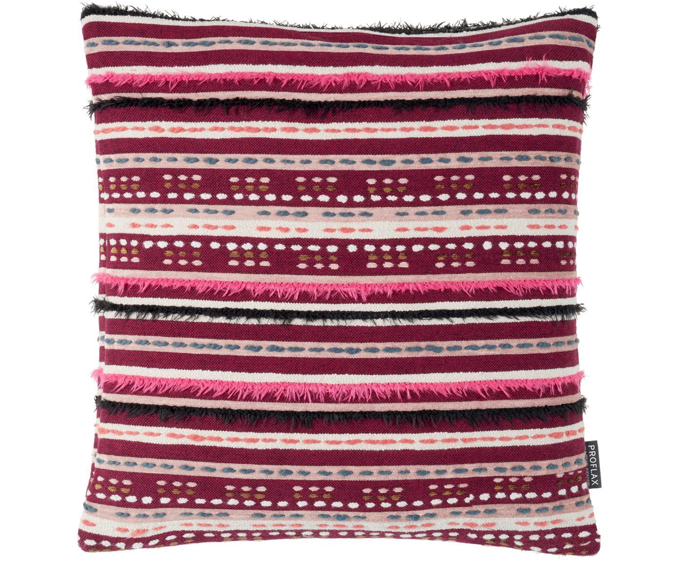 Kissenhülle Camino mit Fransen und bestickten Details, 49% Baumwolle, 39% Viskose, 12% Polyacryl, Rot, Mehrfarbig, 45 x 45 cm