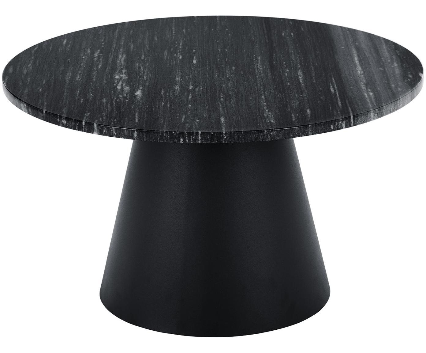 Ronde marmeren salontafel Mary, Tafelblad: marmer, Frame: gecoat metaal, Zwart marmer, zwart, Ø 70 x H 40 cm