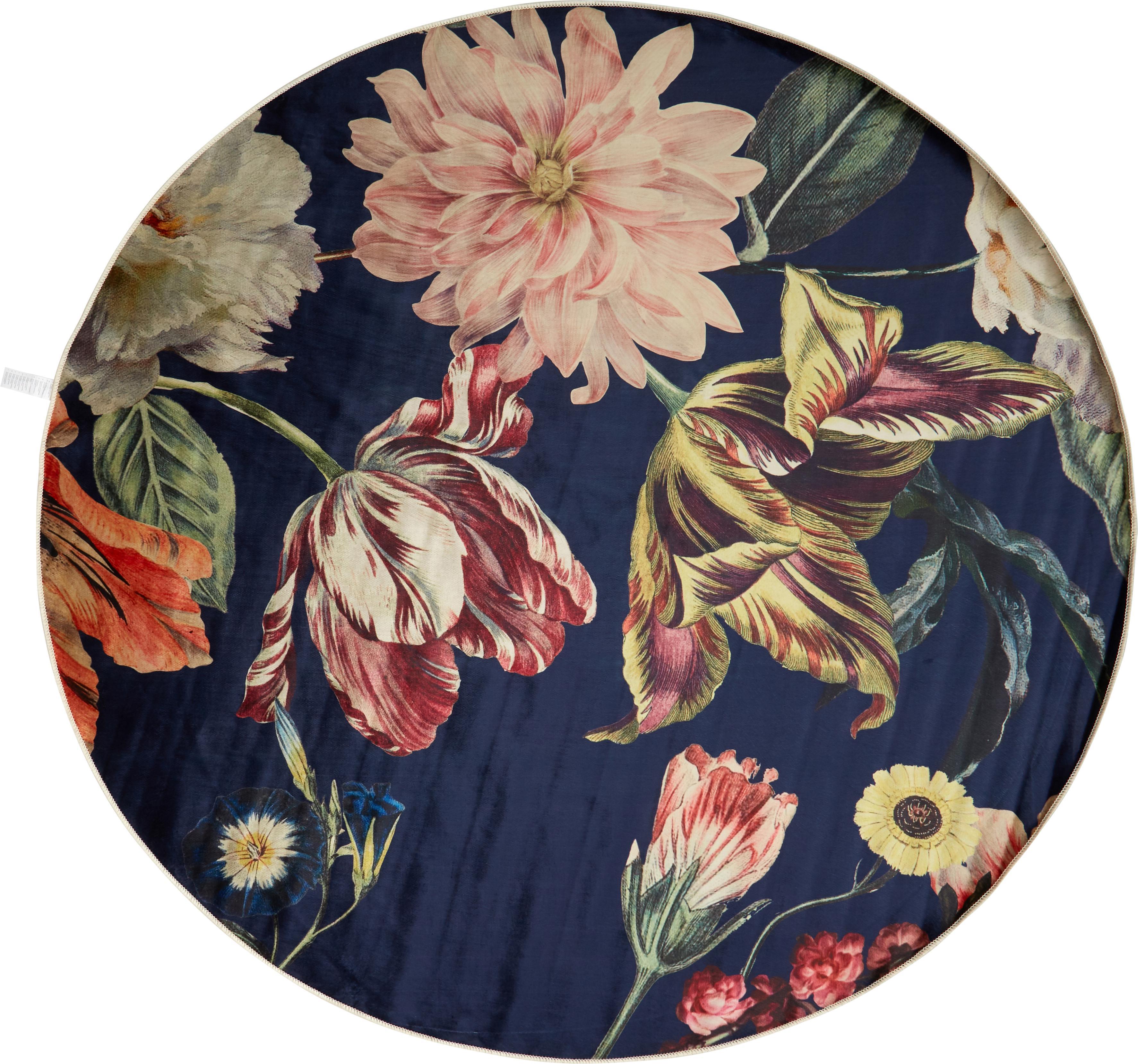 Runder Teppich Filou mit Blumenmuster, 60% Polyester, 30% thermoplastisches Polyurethan, 10% Baumwolle, Dunkelblau, Mehrfarbig, Ø 180 cm (Größe L)