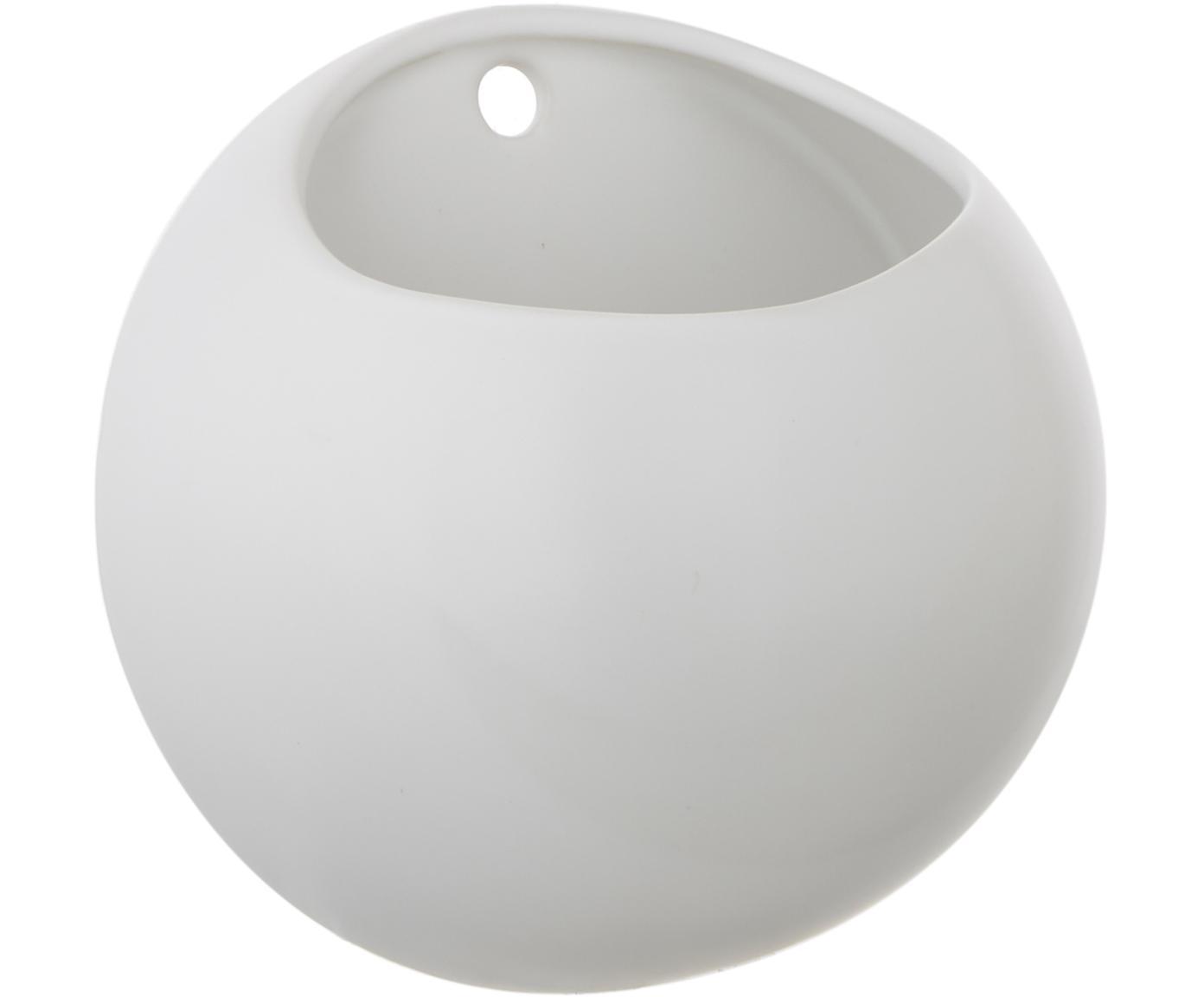 Ścienna osłonka na doniczkę Globe, Ceramika, Biały, Ø 15 x W 10 cm