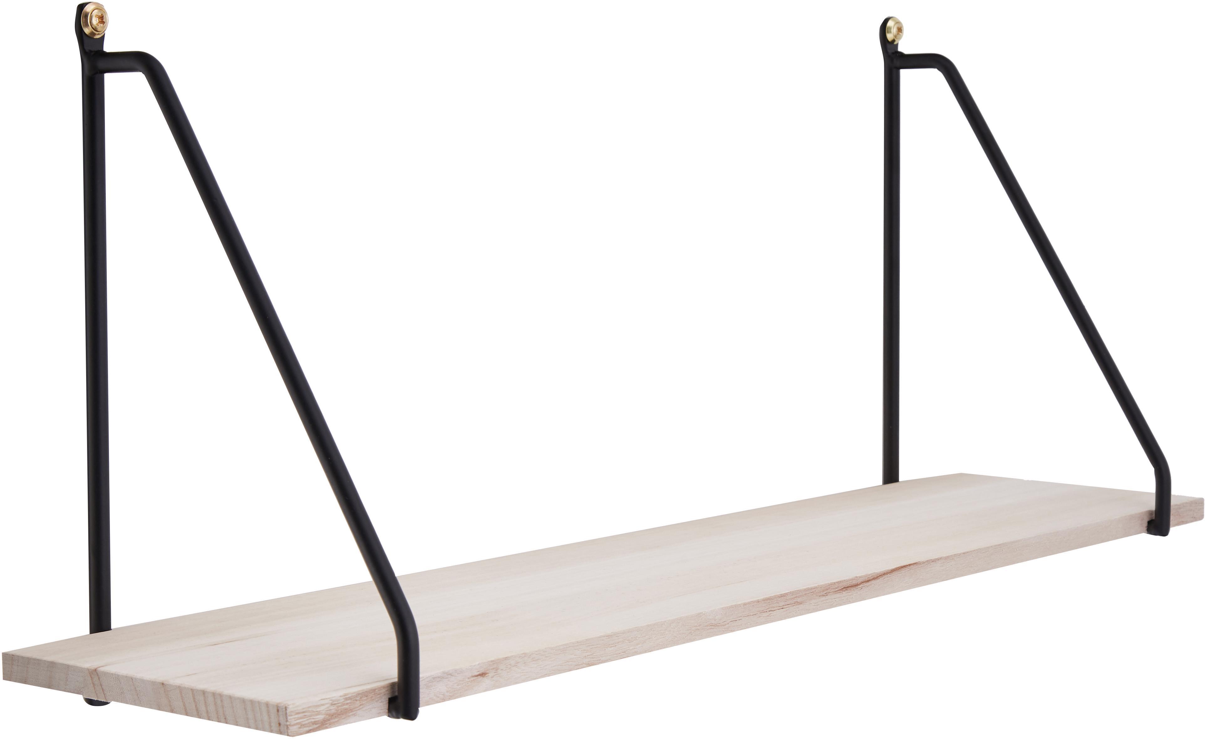 Wandregal Arnhem aus Metall und Holz, Gestell: Metall, pulverbeschichtet, Regalboden: Paulowniaholz, Schwarz, Braun, 65 x 27 cm