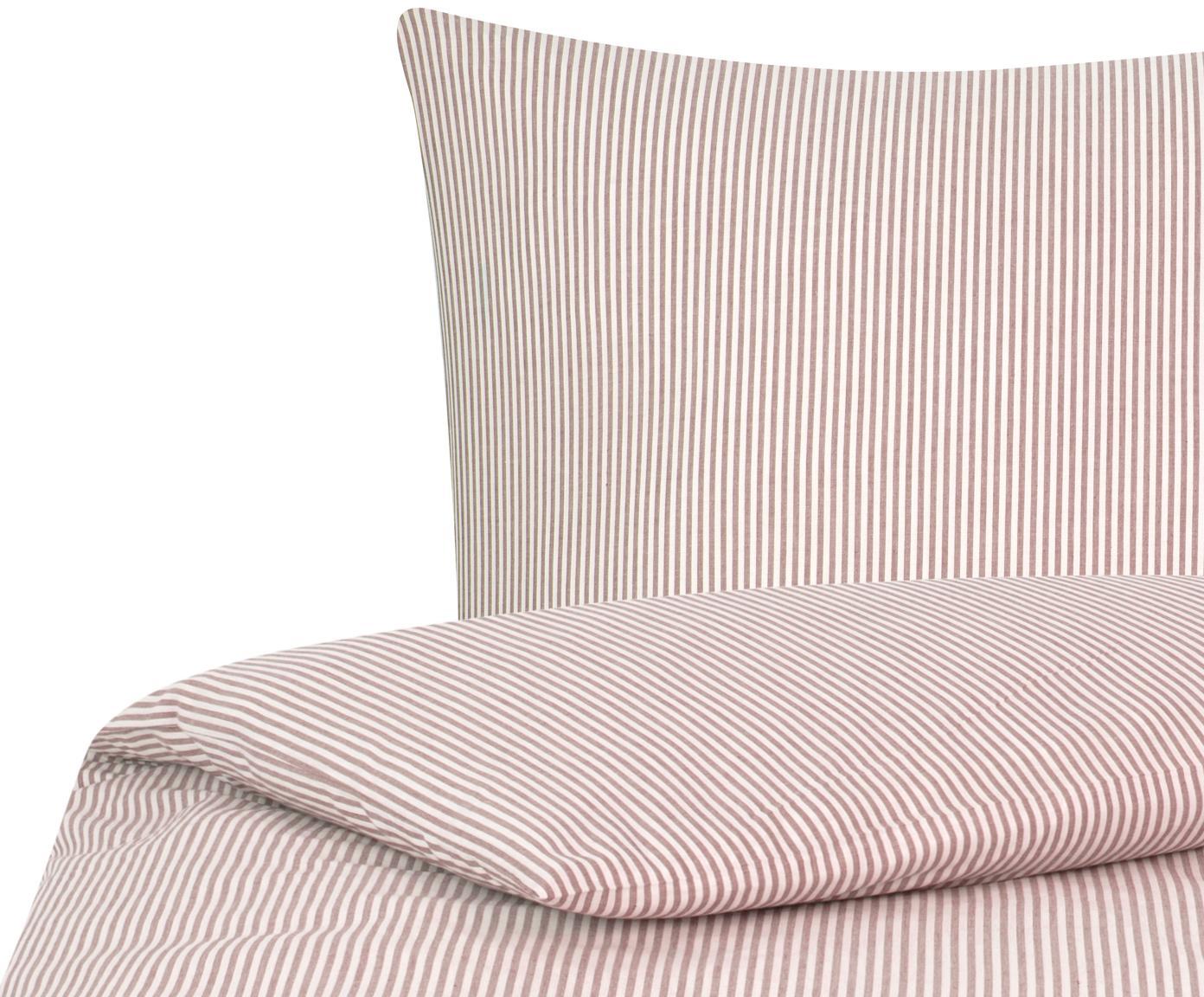 Baumwoll-Bettwäsche Ellie, fein gestreift, Webart: Renforcé Fadendichte 118 , Weiß, Rot, 135 x 200 cm + 1 Kissen 80 x 80 cm