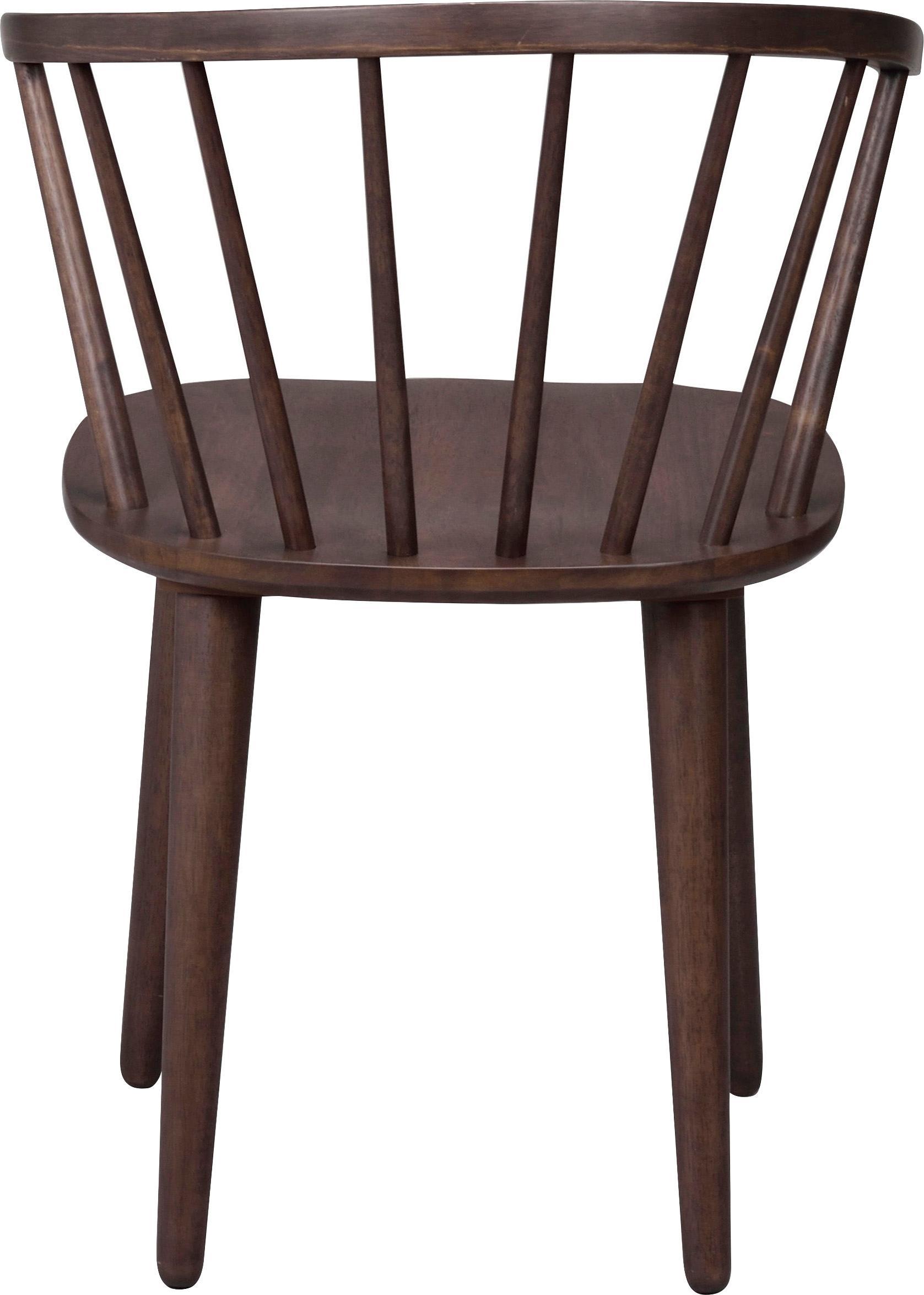Poltrone Windsor Carmen in legno, 2 pz., Legno di caucciù, macchiato verniciato, Marrone scuro con struttura in legno a vista, Larg. 54 x Alt. 76 cm
