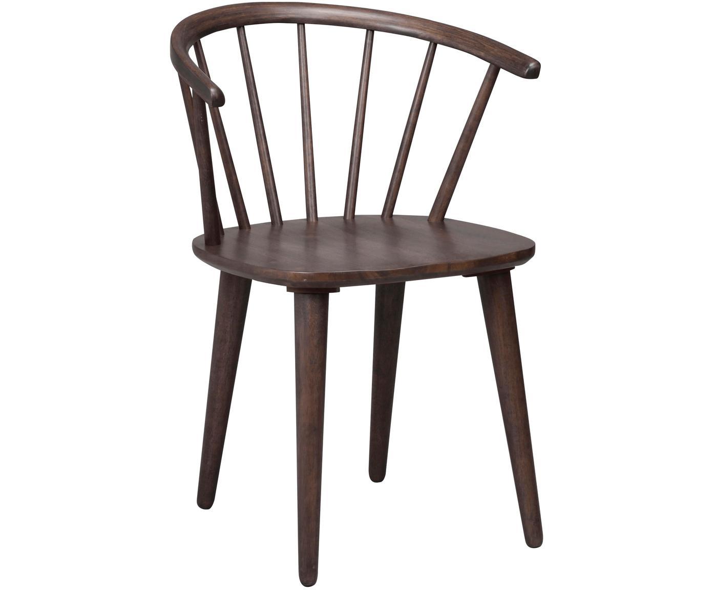 Krzesło z podłokietnikami z drewna  Windsor Carmen, 2 szt., Drewno kauczukowe, barwione, lakierowane, Ciemnybrązowy z widoczną strukturą drewna, S 54 x W 76 cm