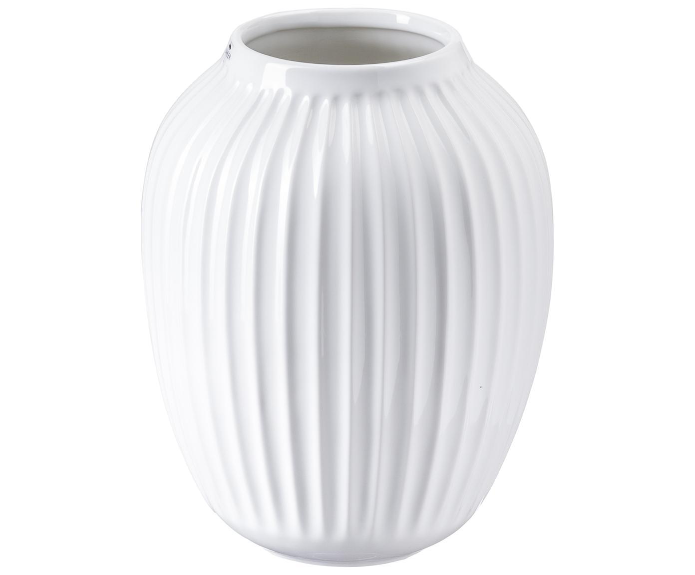 Handgefertigte Design-Vase Hammershøi, Porzellan, Weiss, Ø 20 x H 25 cm