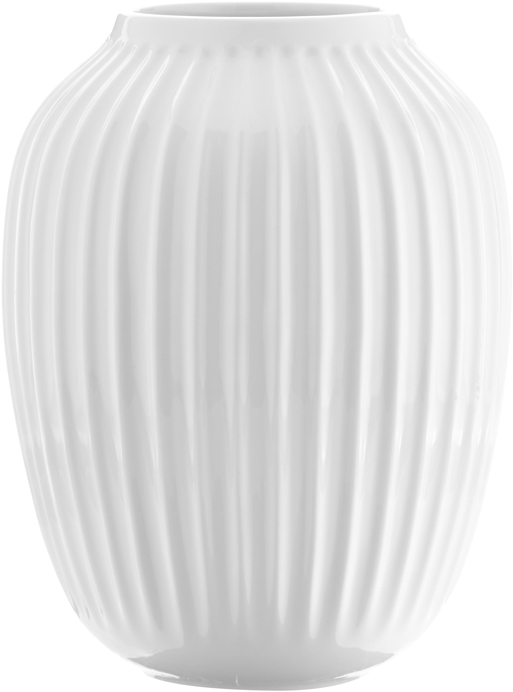 Handgefertigte Design-Vase Hammershøi, Porzellan, Weiß, Ø 20 x H 25 cm