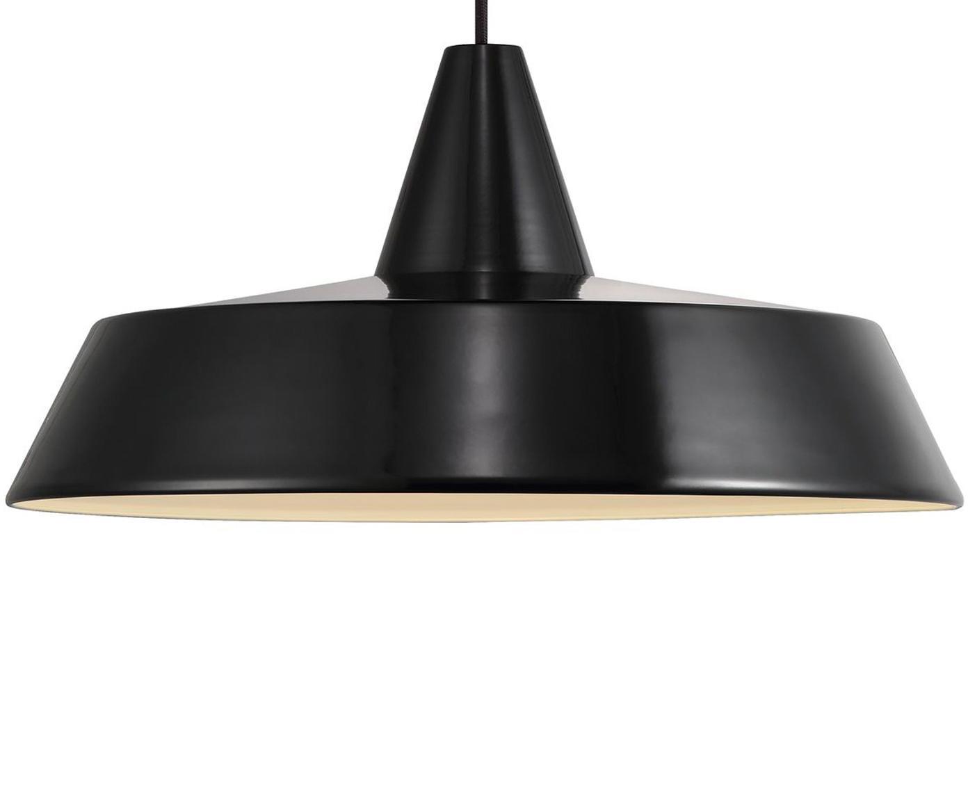 Lámpara de techo Jubilee, Pantalla: acero pintado, Anclaje: plástico, Cable: cubierto en tela, Negro, Ø 40 x Al 20 cm
