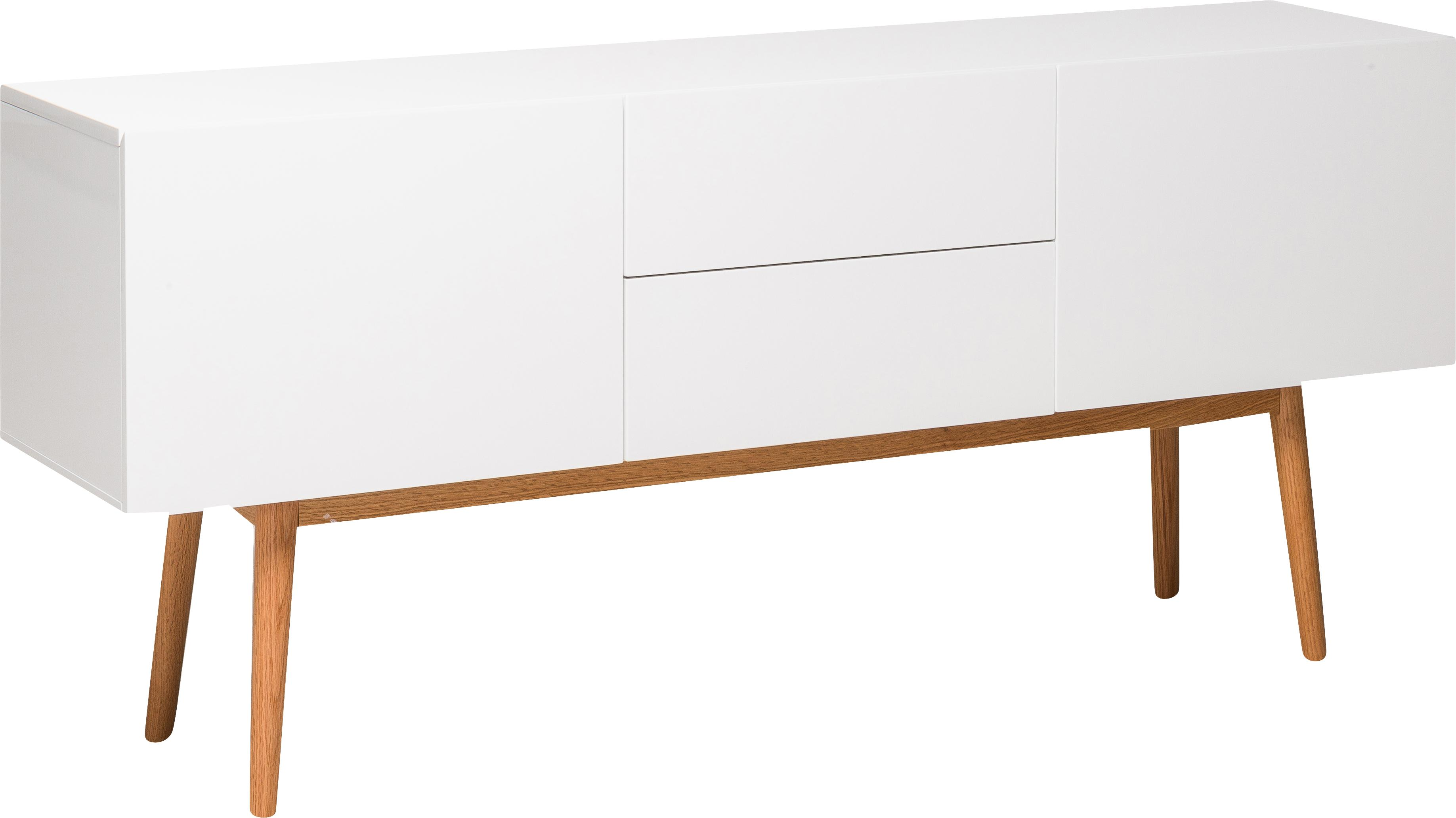 Dressoir High on Wood in wit hoogglans, Frame: PU gelakt MDF, Poten: massief eikenhout, Wit, 160 x 72 cm