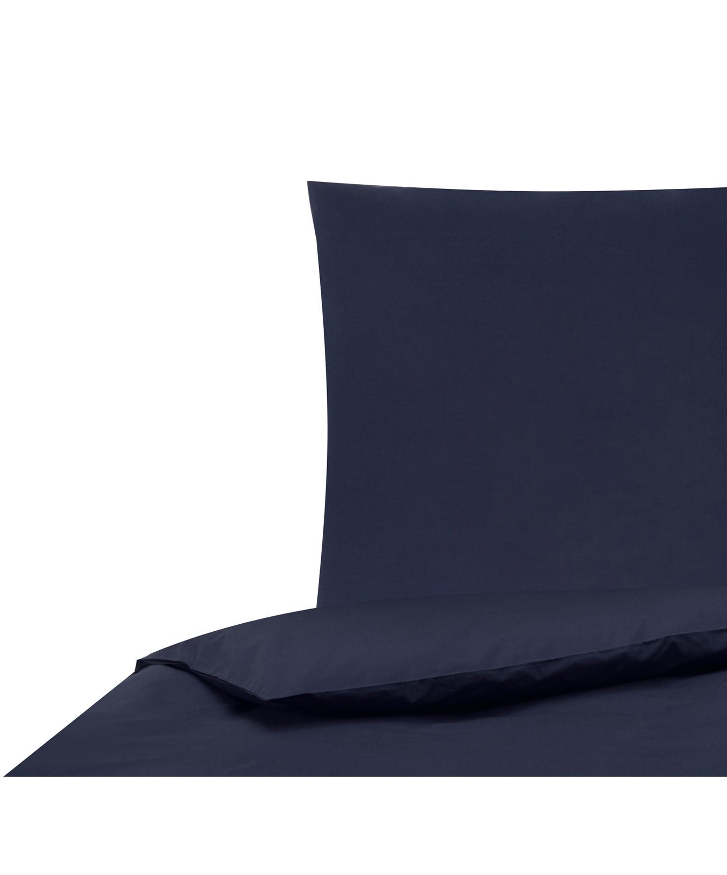 Perkal dekbedovertrek Elsie, Weeftechniek: perkal Draaddichtheid 200, Donkerblauw, 140 x 200 cm