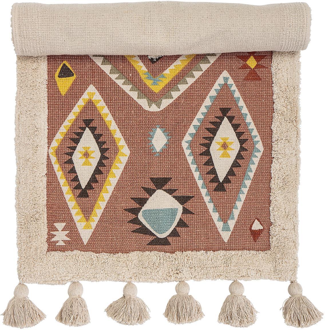 Teppich Boho, 100% Baumwolle, Mehrfarbig, B 65 x L 120 cm (Grösse XS)