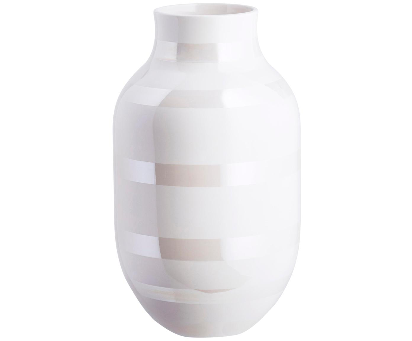 Grosse handgefertigte Design-Vase Omaggio, Keramik, Weiss, Perlmuttfarben, Ø 20 x H 31 cm